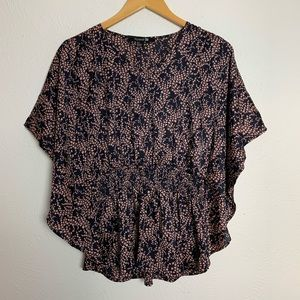 Forever 21 Bat-Winged Lightweight Blouse w/ Leaves